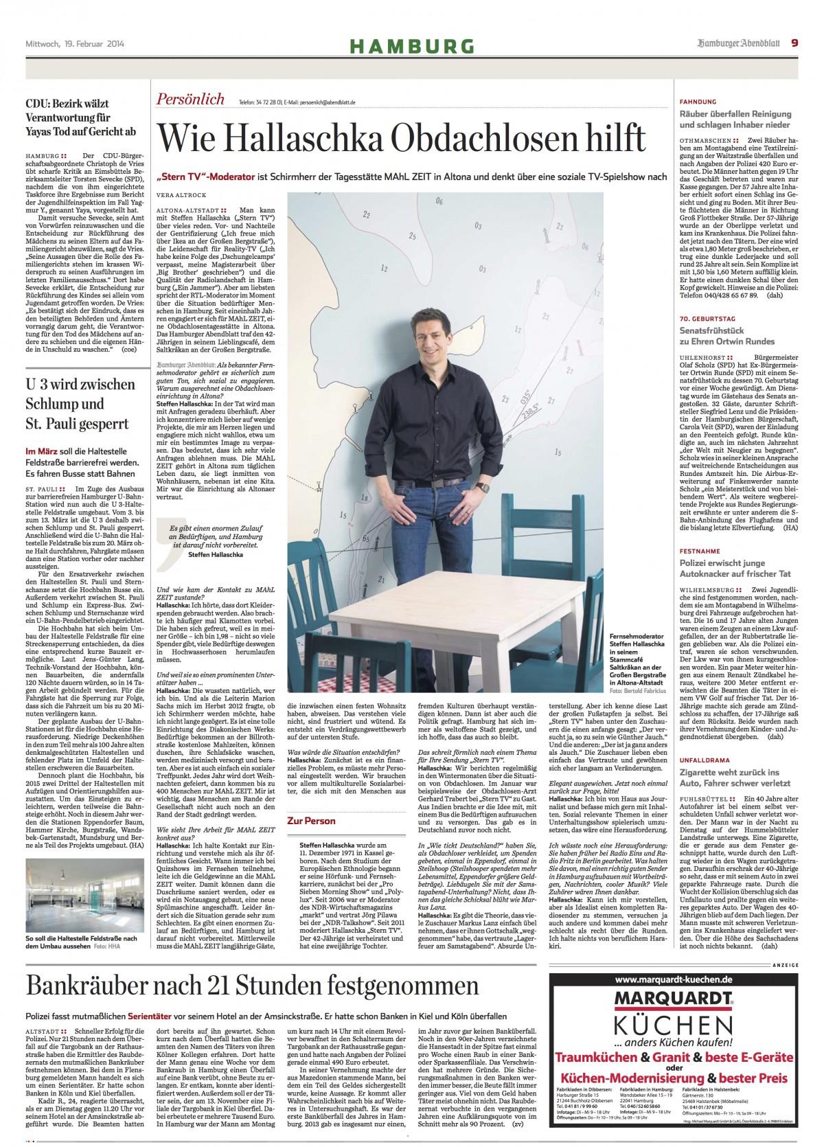 Hamburger Abendblatt 19.2.2014 Steffen Hallaschka